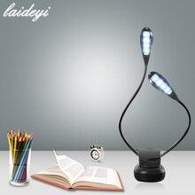 LAIDEYI 8 LED USB musique Double pôle lampes de bureau Studio support lumière lampe clipsable oeil-soin livre lumière livraison directe 828