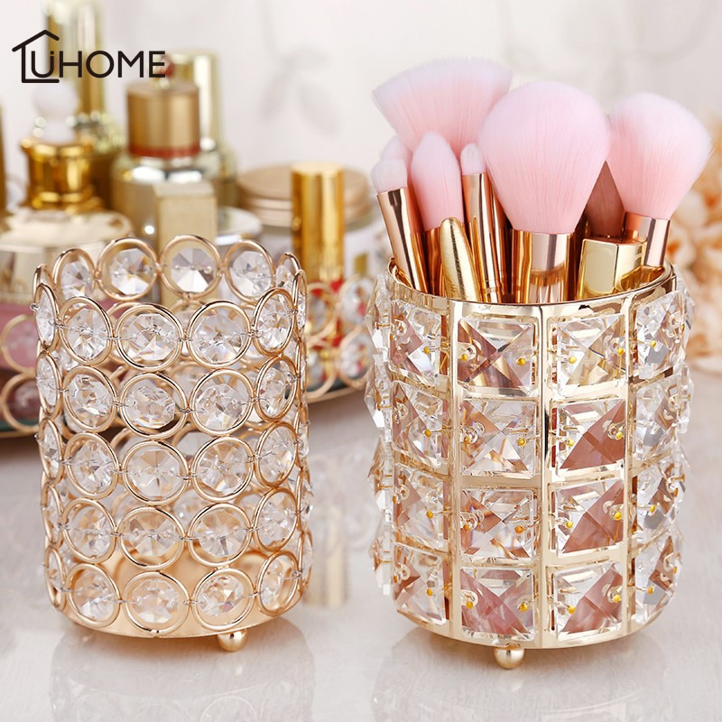 Soporte de almacenamiento de cristal de estilo europeo de lujo organizador de cosméticos maquillaje cepillo titular lápiz pluma cubo ceja Eyeliner contenedor
