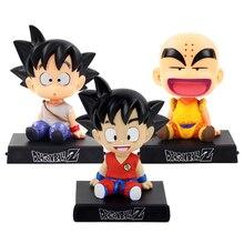 Bobble Kafa dragon topu Eylem Son Goku Rakam Krillin Sallamak Kafa telefon tutucu Braketi Araba Dekorasyon Anime Modeli PVC Oyuncaklar Hediyeler