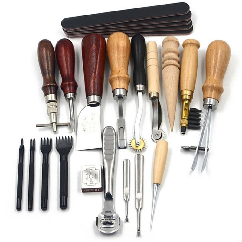 18 unids/set de artesanía de cuero Kit de herramientas costura sillín de costura, de trabajo, de tallado Groover