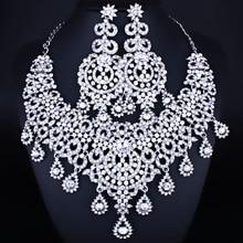 Argent plaqué luxe Style marocain cristal clair strass collier boucles doreilles ensemble de bijoux de mariage pour femmes