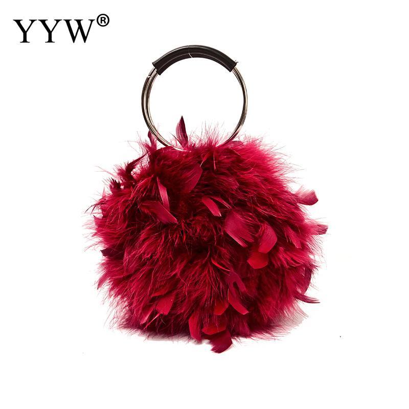 Bolso de noche con anillo de pluma suave, minibolso de hombro a la moda para Mujer, Bolso pequeño y Bolso Rosa rojo, Bolso coreano para Mujer
