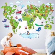 Europa estilo criativo dos desenhos animados mapa do mundo diy removível adesivos de parede do quarto dos miúdos berçário sala estar decoração da sua casa decalque abc1001