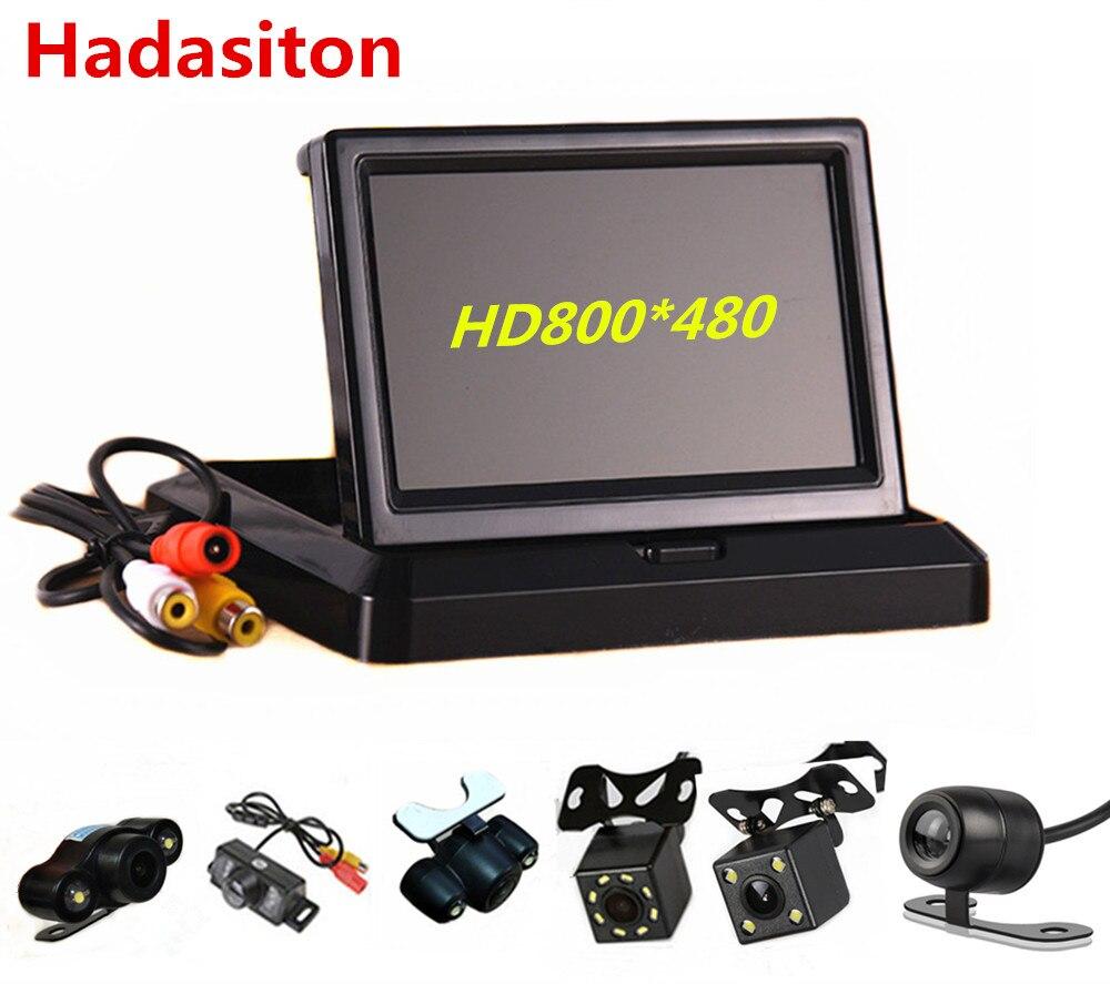 "Monitor de coche plegable 5 ""TFT LCD HD800 * 480 monitor de aparcamiento reverso con 2 entradas de video, cámara de visión trasera (opcional)"