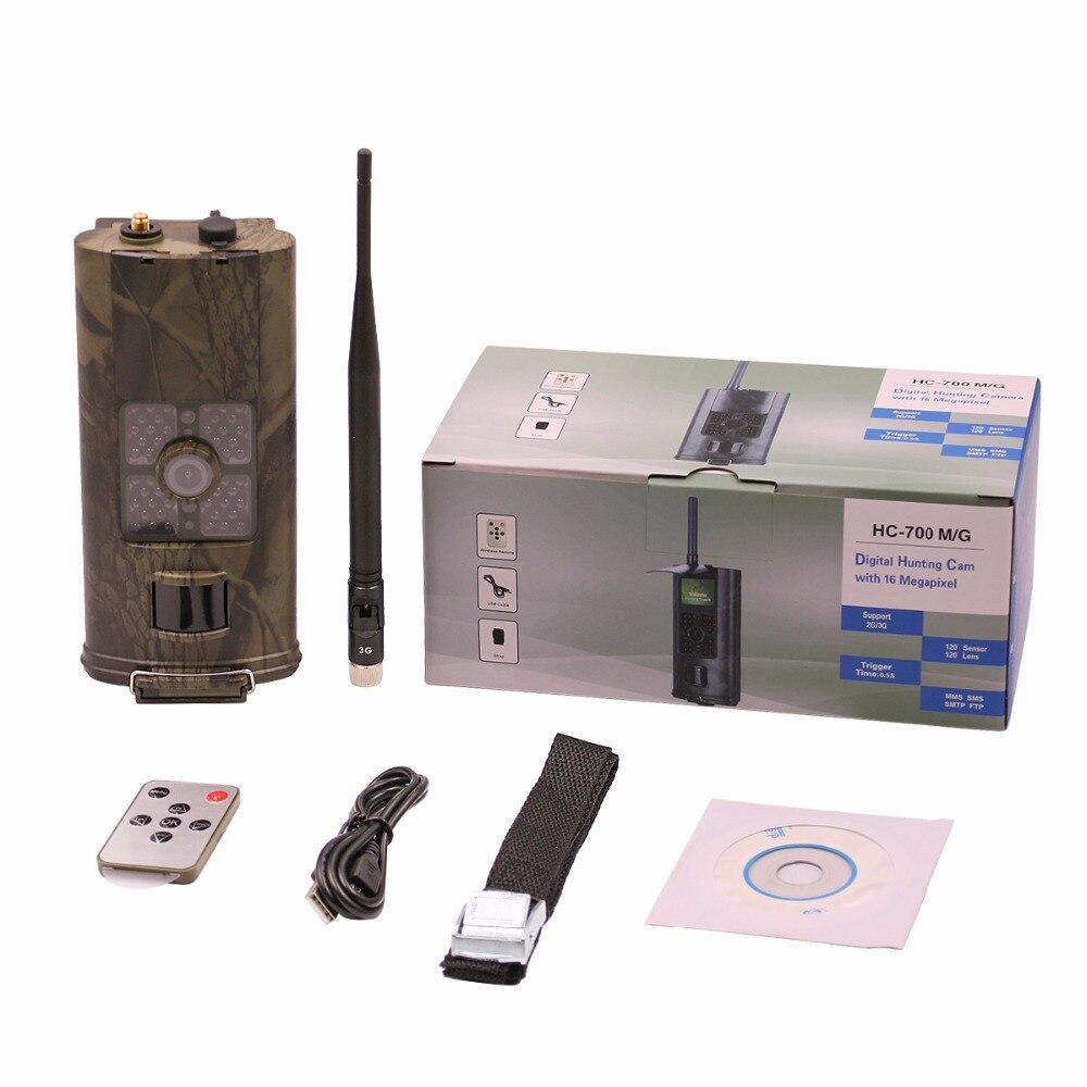 Cámara de caza 3G Trail hc700g 16mp MMS/correo electrónico/SMS/GPRS CÁMARA DE SEGUIMIENTO DE lapso de tiempo de exploración Digital caza seguridad Chasse Foto