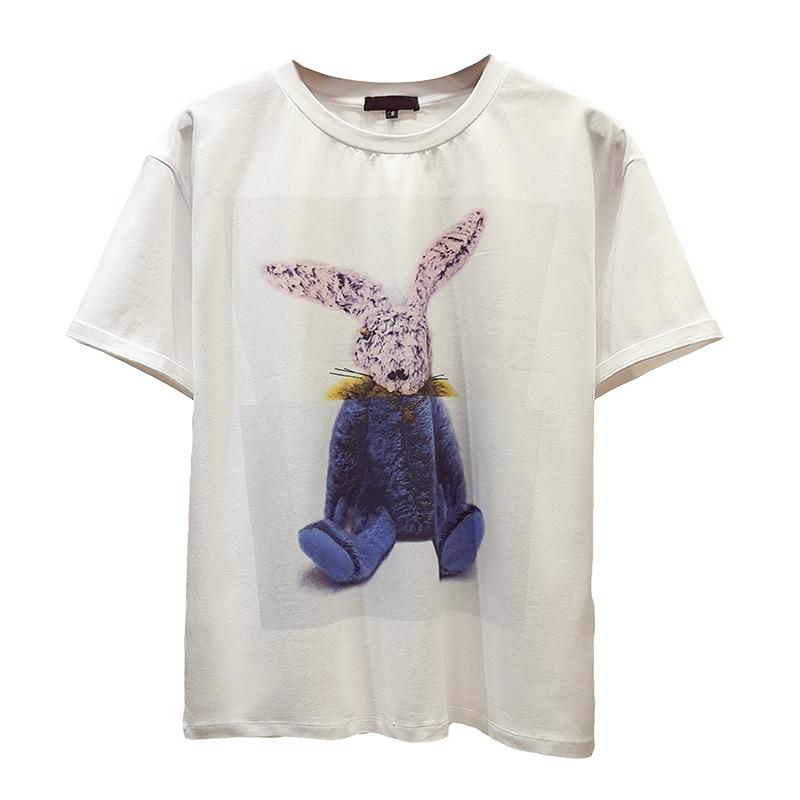 2019 moda mujer camiseta algodón mujeres animales de dibujos animados impresos camisetas blancas verano Casual suelta Harajuku camiseta mujer Top