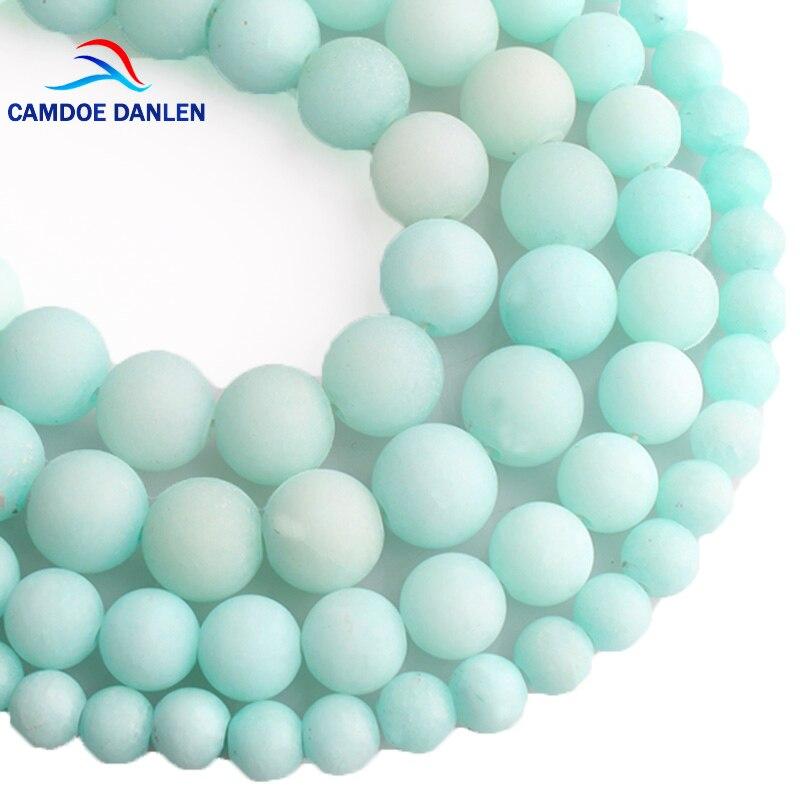 CAMDOE DANLEN, Amazonita azul de piedra Natural, cuentas esmeriladas, cuentas sueltas redondas mate, 6, 8, 10, 12 MM, para la fabricación de joyas, pulsera DIY