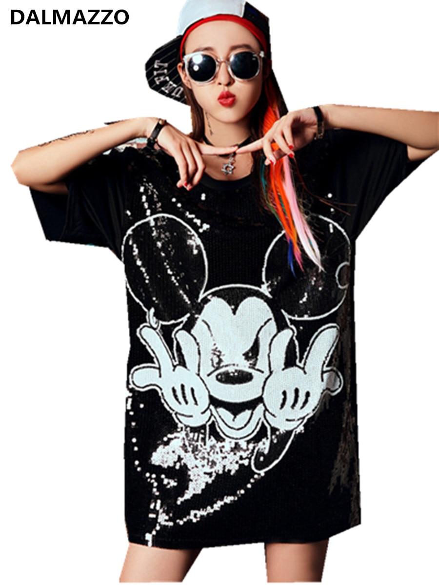 Verano 2020 Mini vestido negro de pasarela estampado 3D diseño de dibujos animados Mickey Mouse lentejuelas manga corta suelta vestidos de camiseta larga