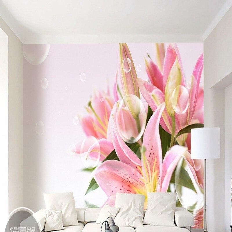 Dropshipping Fatman papel pintado de flores para paredes de dormitorio hermosas burbujas de agua lirio TV pared posterior Mural 3D Duvar Kagidi