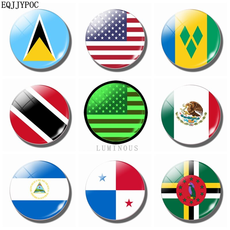 Североамериканский флаг 30 мм магнит для холодильника светящийся магнит для холодильника стекло для сейнта Люсии Мексика Nicaragua Панама Домин...