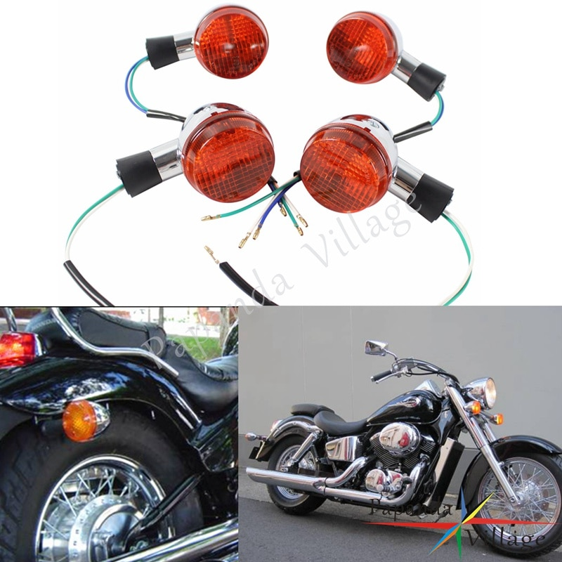 Papanda motocicleta frente chrome e traseira turn signal luz indicadora para honda shadow 400 750 vt750 04-07