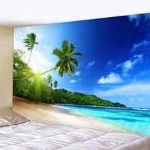 Słoneczny zielone drzewo plaża druku gobelin ścienny tanie Hippie ściany wiszące Hohemian gobelin Mandala gobelin Wall Art decor