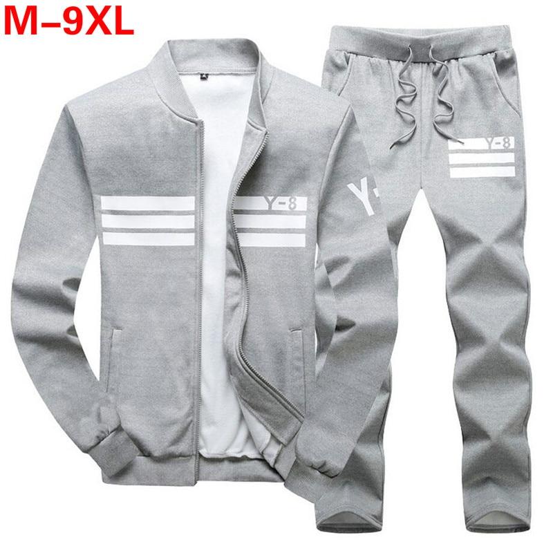 Plus Size 9XL 8XL Men's Sporting Suit Male Tracksuit Men Spring Autumn Casual Sportswear Big Size 2PC Jacket+Pants Clothing Sets