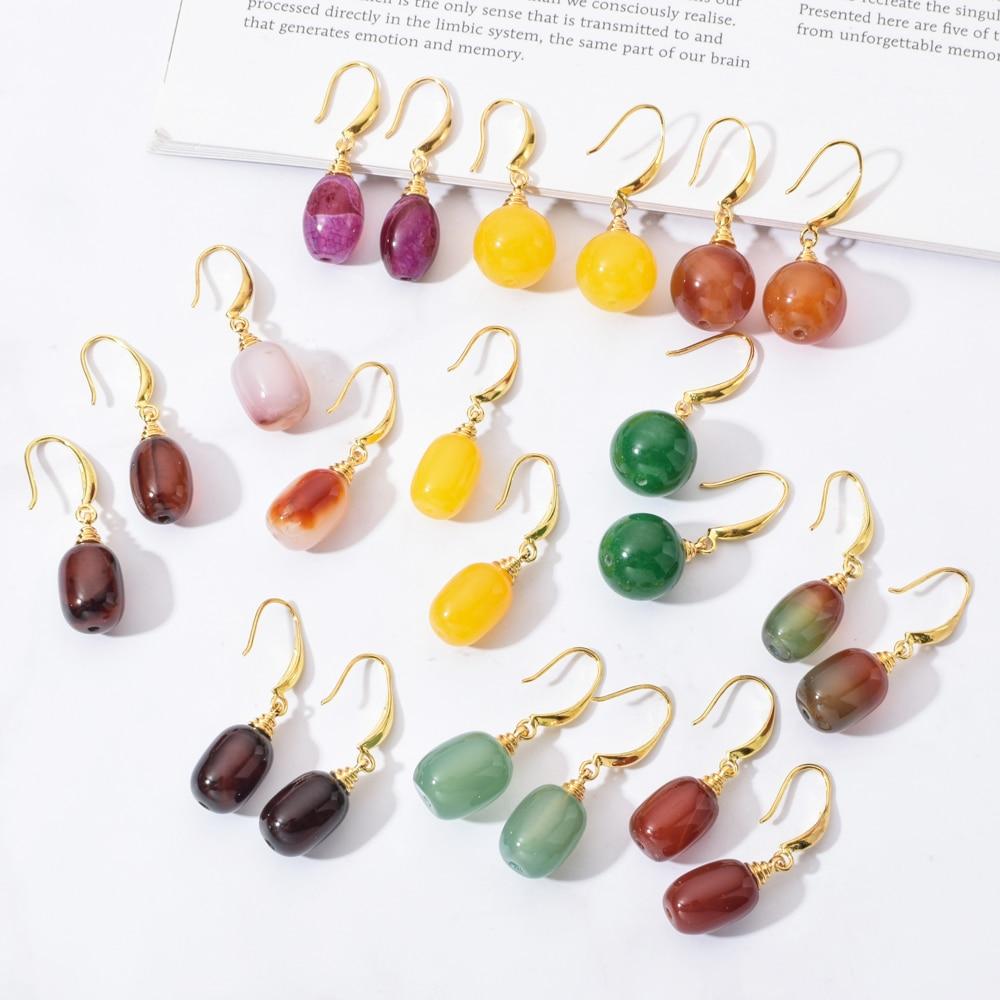New Fashion Natural Stone Drop Earrings For Women Girl Colorful Yellow Green Long Dangle Earring Statement Wedding Jewelry Gifts