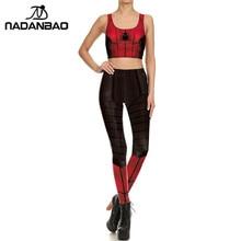 NADANBAO Spiderman 3D Print Leggings Set Cosplay Fitness Legging Suit Workout Legins For Woman Purim Carnival Clothing