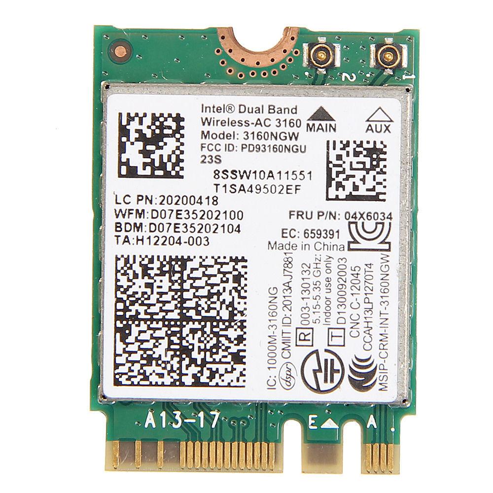 Tarjeta para 04X6034 4x6076 lenovo thinkpad Intel 3160 3160NGW AC Dual Band Wireless AC + Bluetooth 4,0 NGFF tarjeta wifi 802.11AC