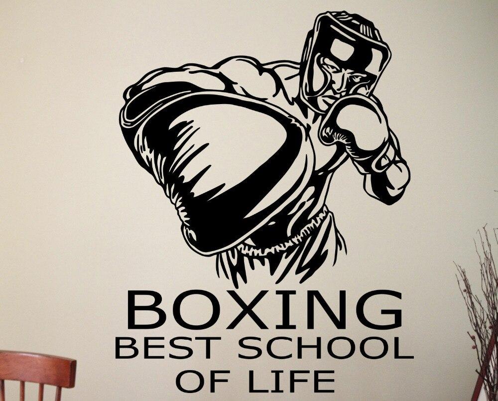 Boxing Wandtattoo Sport Wandaufkleber Sport Zimmer Design Boxen Wandkunst Jungen Zimmer Vinyl Removable A158
