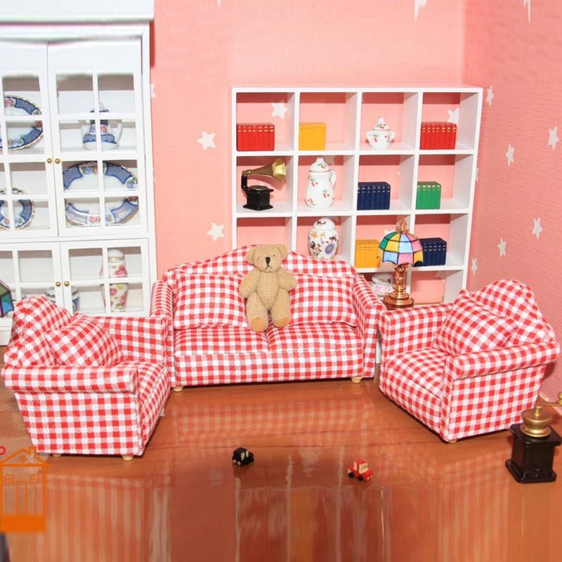 112 escala Dollhouse habitación conjunto muebles sofá juego de muñecas sillón de juguete 7 unids/set # SA07