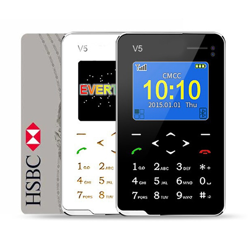 Nuevo artículo Ultra delgado AEKU V5, Mini Teléfono de bolsillo con tarjeta, teclado táctil Quad Band múltiples idiomas, Mini teléfonos de baja radiación