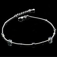 Bracelet de cheville à breloques carré à la mode pour femmes Bracelet à la cheville sur la jambe accessoires de pied de plage réglables