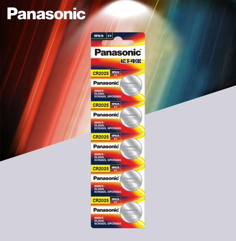 Panasonic מקורי cr2025 כפתור תא סוללות 5 יח'חבילה cr 2025 3V ליתיום מטבע סוללה לצפייה מחשבון משקל בקנה מידה