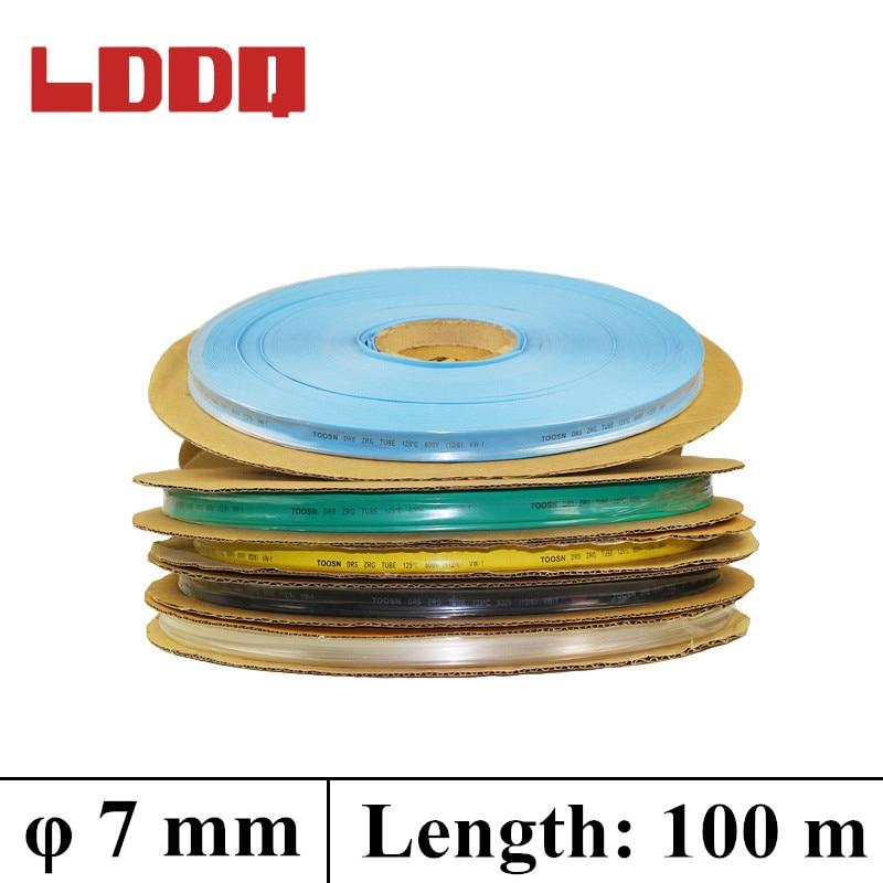 LDDQ 100m * 7mm Tubo termoretráctil de aislamiento 21 cable de aislamiento 600 & 1000V manga de calor de baja presión manga de Cable termoretráctil