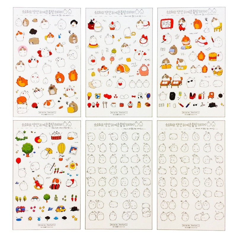 15packs/lot New Korea Cute Cartoon Potato Rabbit I series PVC sticker set  Kawaii direction label sticker diary stickers