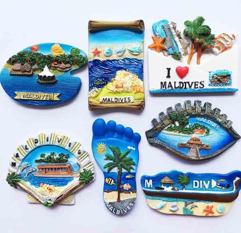 Maldives Gift Bag Doney Ship Shell Foot 3D Fridge Magnet Travel Souvenir Refrigerator Magnetic Stickers Home Decoration Gift