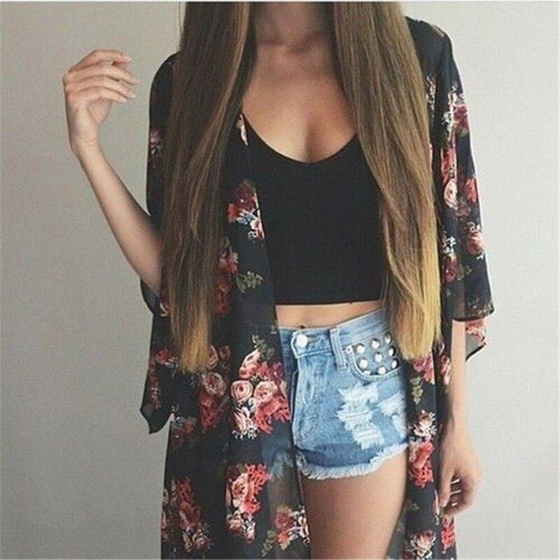 Cárdigan tipo Kimono Vintage informal para mujer, cárdigan largo de verano 2018 de gasa Crochet para mujer, Kimono preto suelto con estampado de flores, blusas negras
