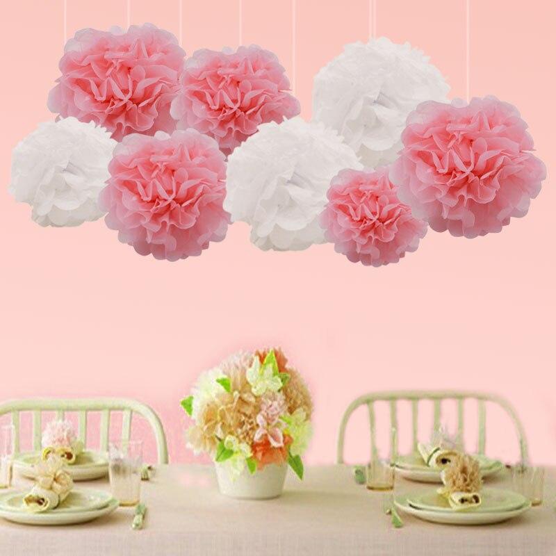 5 uds/10/15/20cm pompón de tisú papel Pom Flor de pompones boda coche decoración fiesta Favor DIY papel artesanal para manualidades bolas de flores