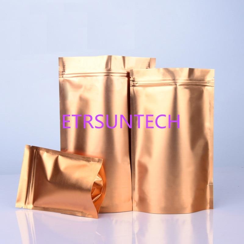 أكياس تغليف الشاي الذهبي ، رقائق الألومنيوم ، سحاب ، لتخزين الطعام ، الجوز ، القهوة ، الحقيبة ذات الختم الحراري