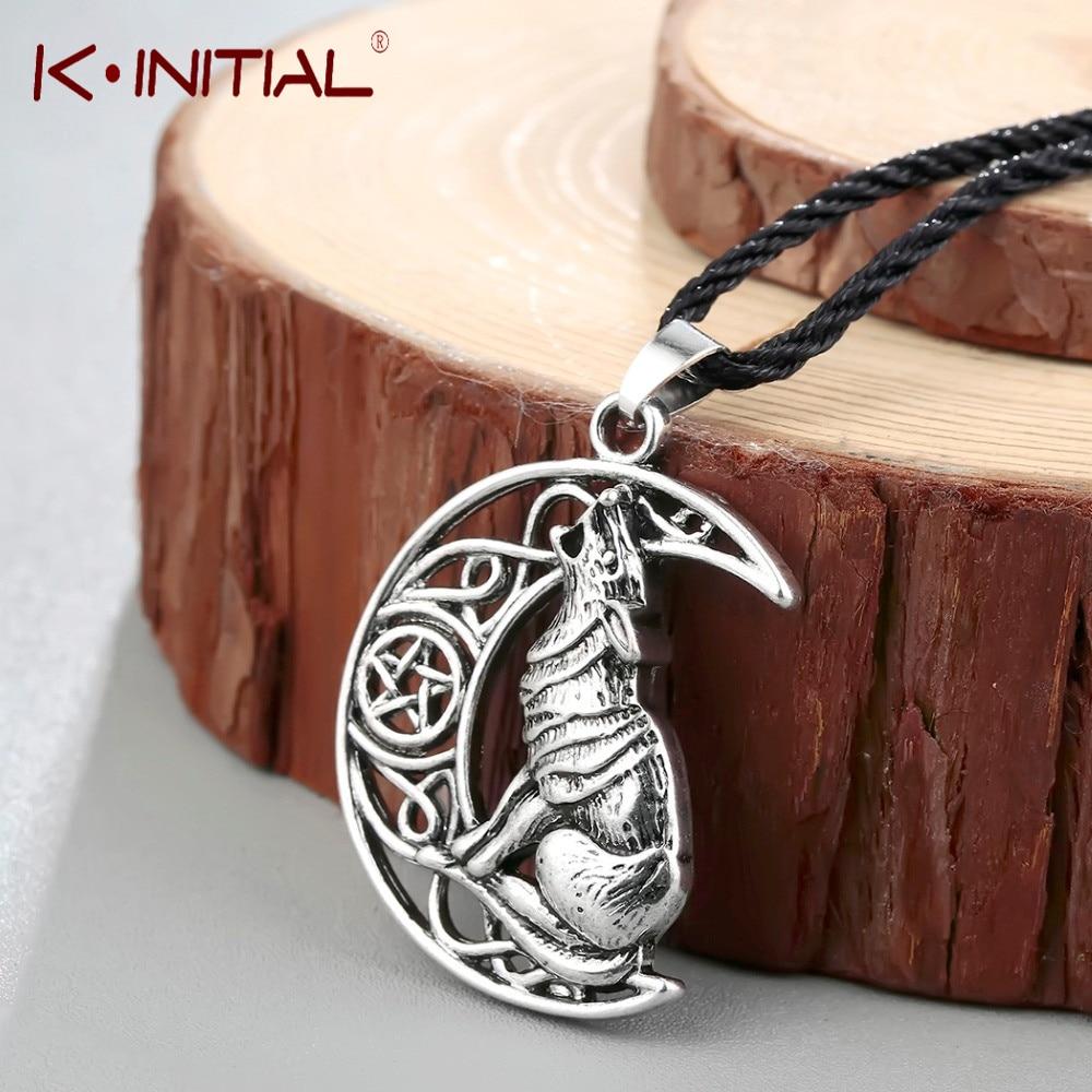 Kinitial Animal Wolf Celtic Moon Viking Dog Necklace & Pendant Valknut Odin 's Symbol of Norse Viking Warriors Men's Necklaces