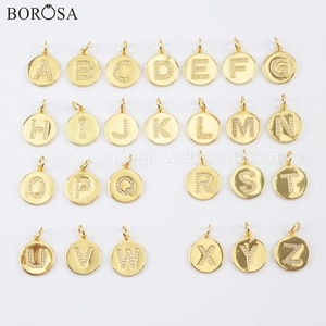 BOROSA 20PCS 15mm Round Gold Color Brass CZ Micro Pave Letter Pendant Metal Beads for Necklace/Bracelet Jewelry Making WX1071