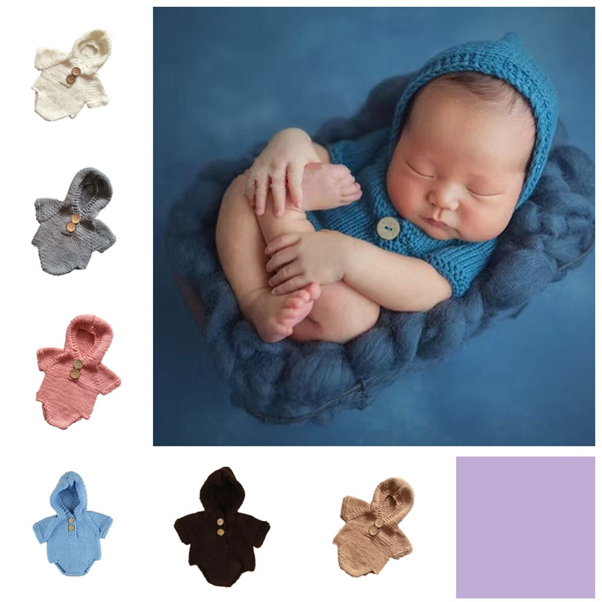 new baby conjoined hand-knitted wool clothes soft cotton material milk photography costumes