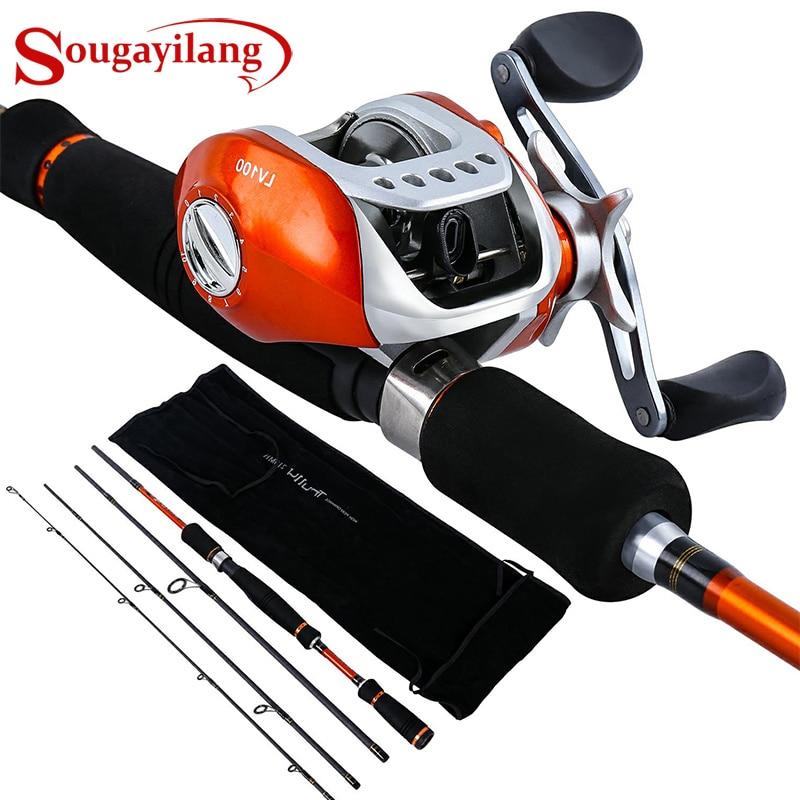 Sougayilang 2.1-2.7M Fishing Rod Reel Combo 4Sections Carbon Fiber Fishing Rod with 10+1BB 6.3:1 Baitcasting Reel Pesca