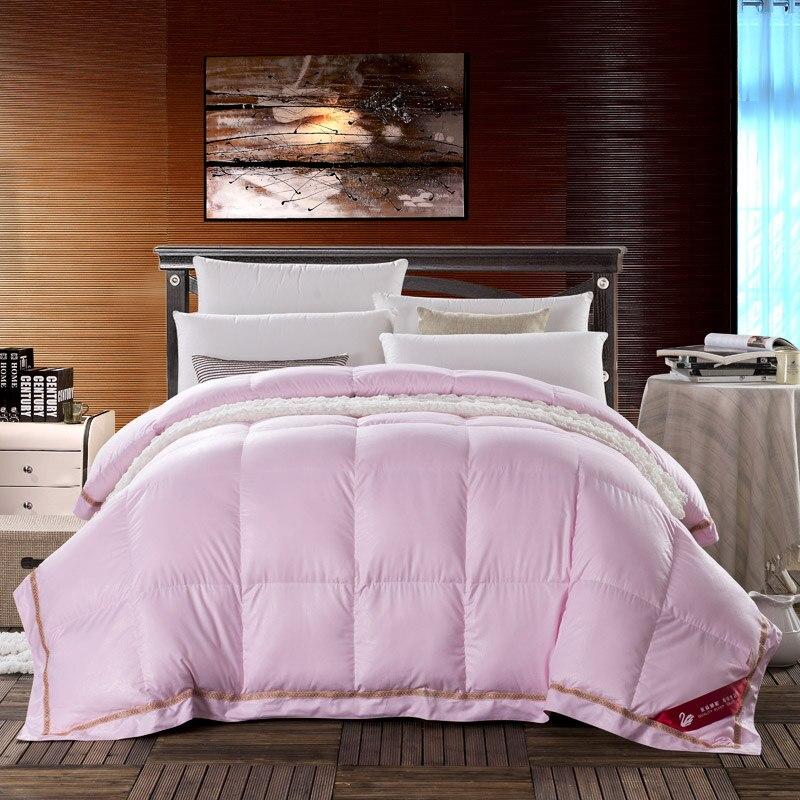 الوردي أوزة أسفل حاف كامل الملكة حجم الشتاء الدافئة thicker المعزي طقم سرير الفتيات الكبار ديكور غرفة نوم هدية ثلاثية الأبعاد لينة الجلد