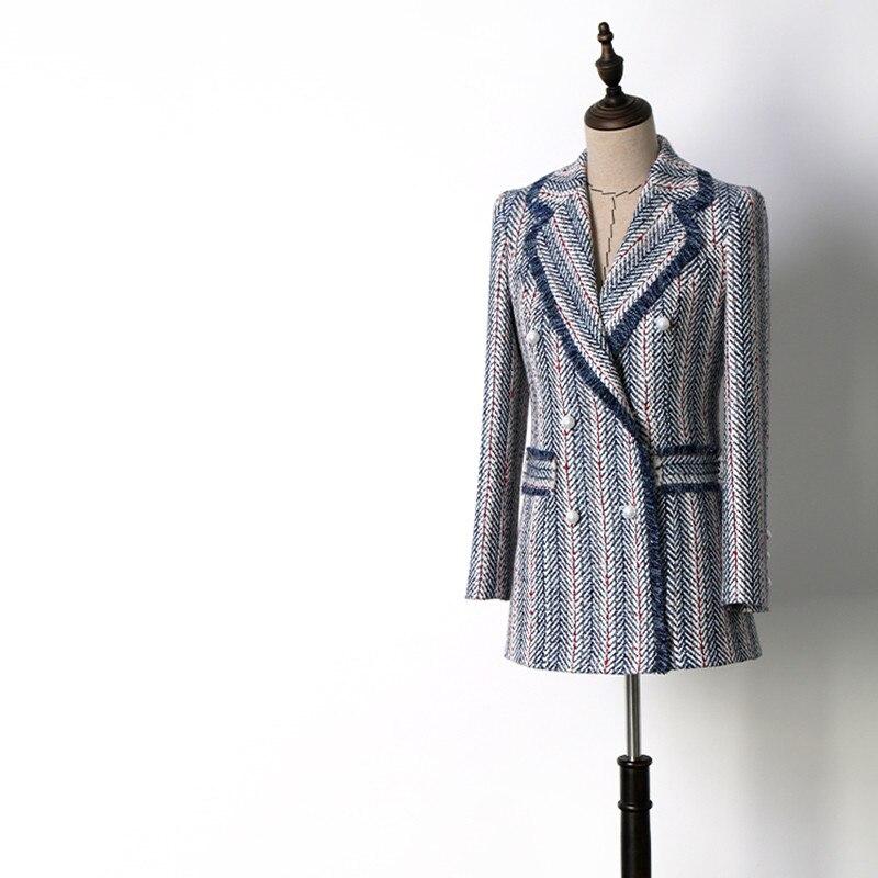 Chaqueta de lujo hecha a mano trajes para mujeres de moda Tweed cuello de muesca doble Breasted azul rayado borla Blazers abrigo