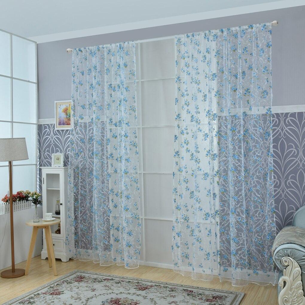 Cortina de bolsillo con estampado de flores, cortina de proyección de ventana de hilo con perspectiva de ondas, 100x200cm/100x270cm
