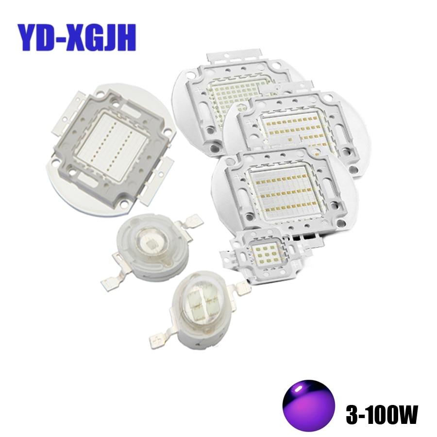 Luces ultravioleta 3W 5W 10W 20W 30W 50W 100W UV de alta potencia LED púrpura Chips 365Nm 375Nm 380Nm 385Nm 390Nm 400Nm 405Nm 425Nm COB