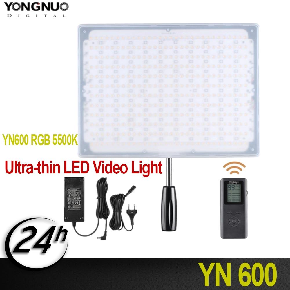 Nuevo YONGNUO YN600 RGB 5500 K Luz de vídeo LED ultrafina iluminación fotográfica con iluminación de estudio de Control remoto + adaptador de corriente AC