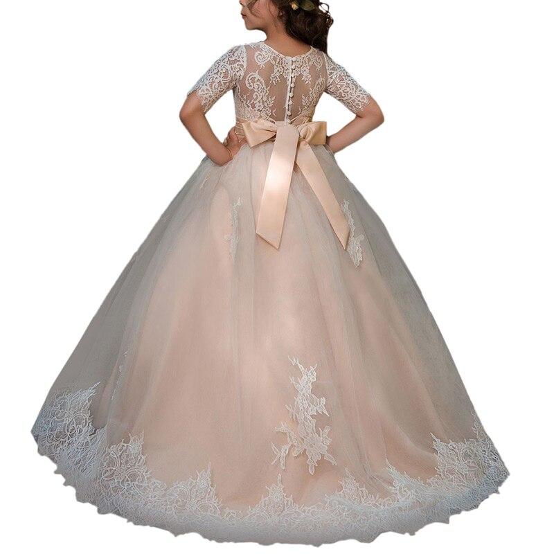 cap sleeve little girls party dress beaded sash kids ball gown lace flower girls dress white first communion dresses for girls enlarge