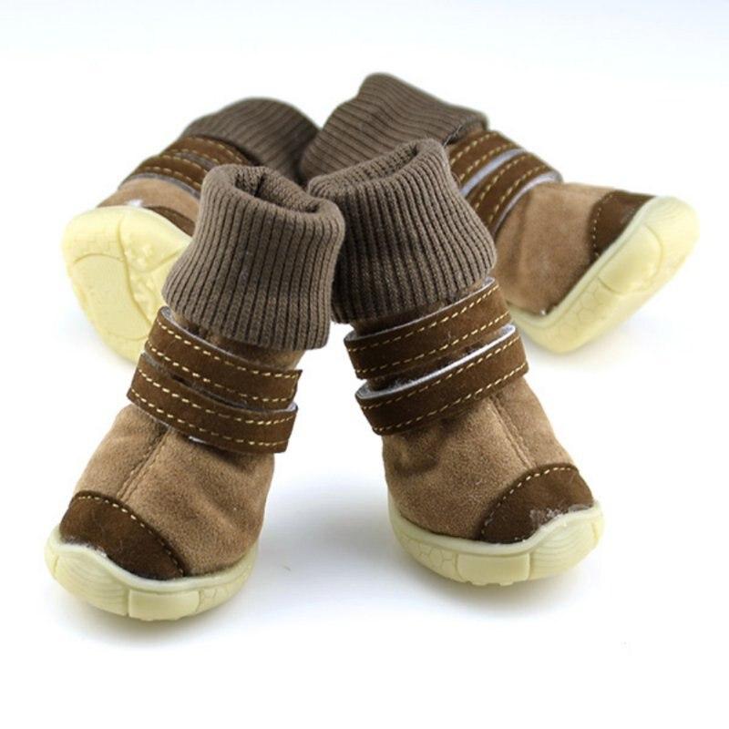 Обувь для домашних животных с толстым мехом; обувь для маленьких собак; теплые зимние ботинки; плюшевый Пудель; Цвет Кофейный, розовый, фиолетовый