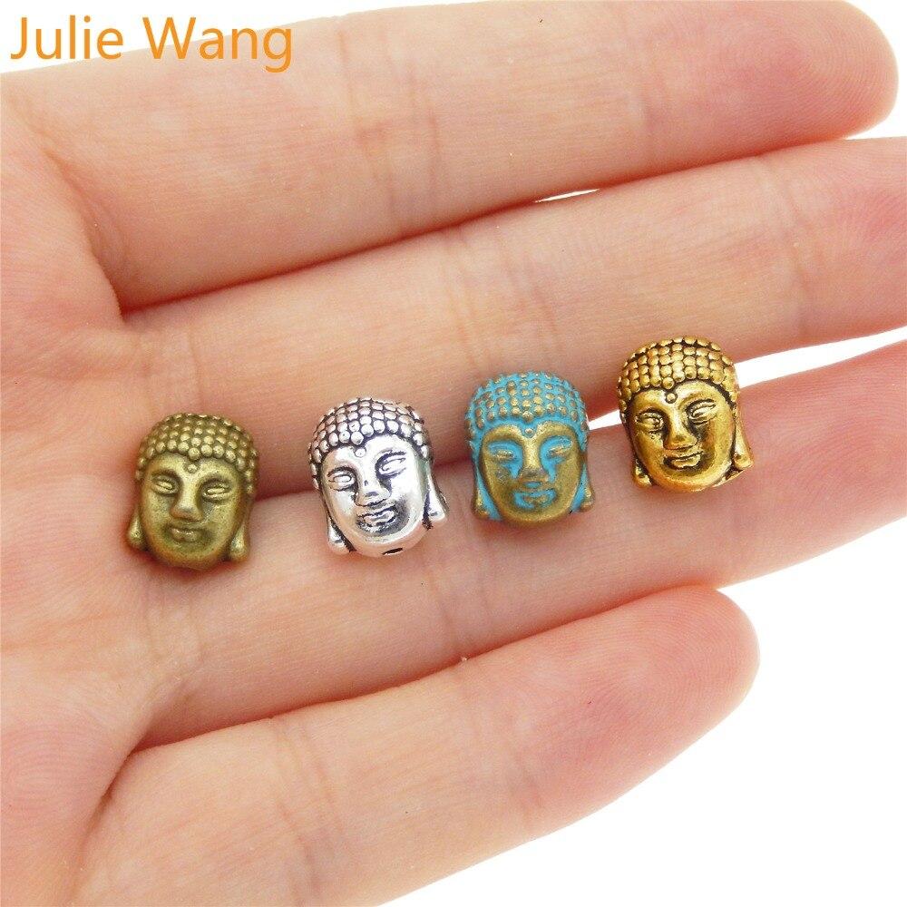 Julie Wang 5/10/20 Uds. Pulsera de cuentas de Cabeza de Buda aleación cuentas separadas dijes COLLAR COLGANTE tobillera accesorio para hacer joyería