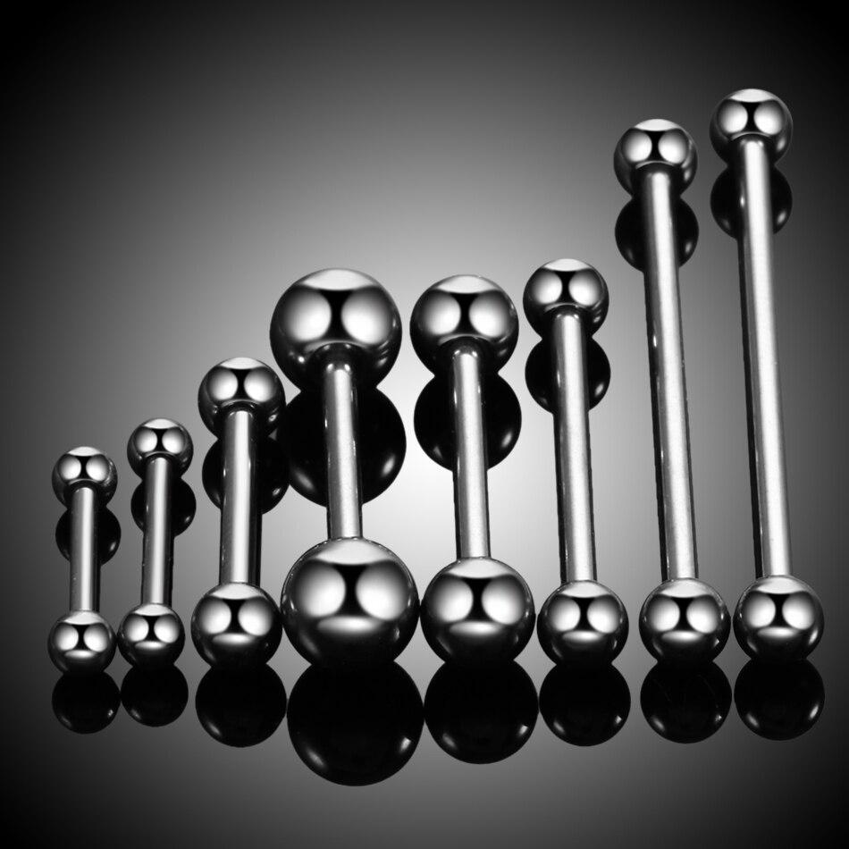 1PC 100% grado 23 titanio plata Color lengua Barbell tamaños mixtos Piercing en forma de mancuerna para pezón pendientes joyería de moda 14g 16g