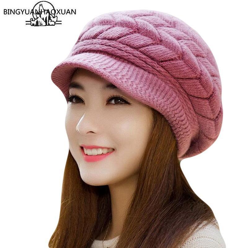 Bing yuan hao xuan chapéu de malha feminino chapéus de inverno para senhoras gorro meninas skullies bonnet femme snapback chapéu de lã quente