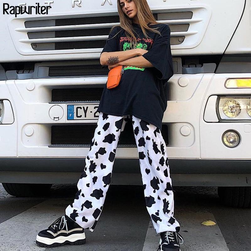 Pantalones de estampado de vaca de leche de cintura alta elásticos casuales de Rapwriter pantalones sueltos de moda de verano para mujer Pantalones de mujer