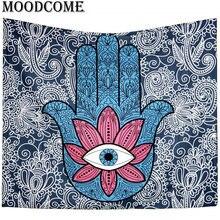 Fatima-tapisserie dœil maléfique Hamsa   Tapis mural décoratif pour la maison, tapisserie de Lotus de Mandala indien