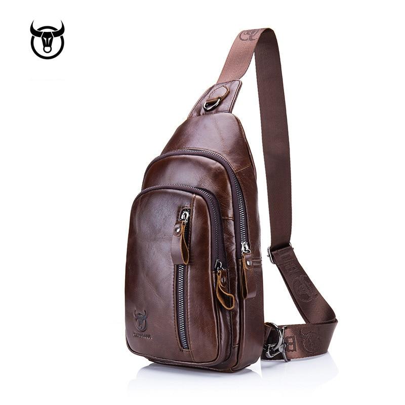 BULLCAPTAIN Fashion Genuine Leather Crossbody Bags men Brand Small Male Shoulder Bag casual men's music chest bags messenger bag
