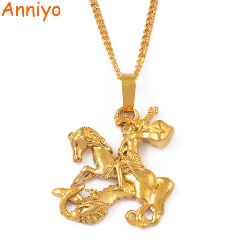 Женская цепочка с кулоном Anniyo Snt George Dragon, цепочка с кулоном Saint-George, ювелирные изделия с драконом, #106306
