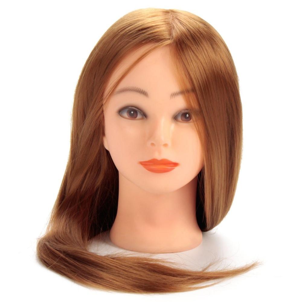 CAMMITEVER Blonde Golden Hair Hairdressing Mannequin Head Hair Doll Heads Training Manikin Synthetic Hair Manikin Cosmetology